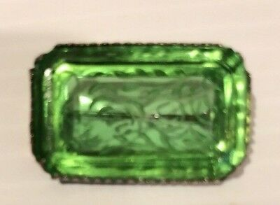 Vintage Etched Glass Pin Brooch Green  Antique Victorian Style
