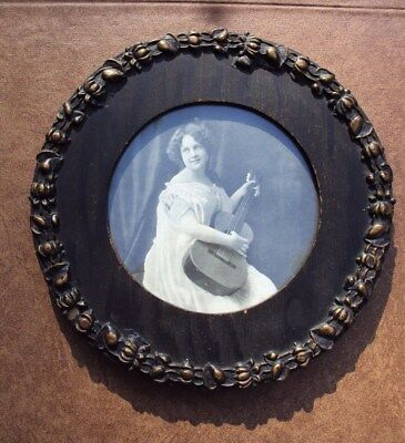 Early 1900's Wood Frame and Picture - Girl with Guitar