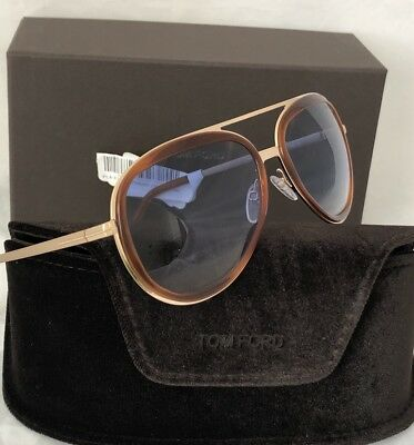 29368669636d NWT TOM FORD Sunglasses Andy TF468-56W in Gold-Havana with Blue-Gradient