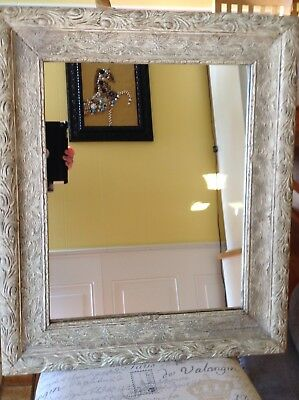 Antique Shabby Chic White Carved Wood Wall Mirror Copper Plated Glass