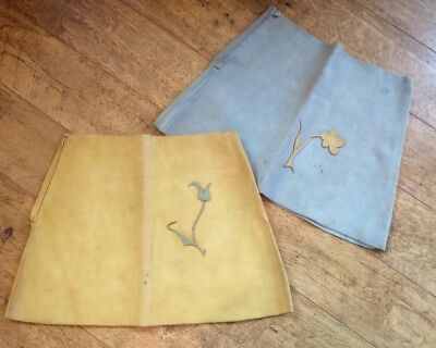 Vintage 1960s 70s Hippy Suede Leather Mini Skirts Zipper Flowers poor condition