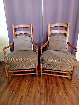 "Vintage Hickory Chair Co. Pair Of 'american Digest""  Distressed Cherry Chairs"