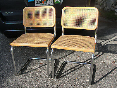 Pair (2) Vintage MARCEL BREUER mid-century CESCA CHAIRS, Authentic Made in Italy