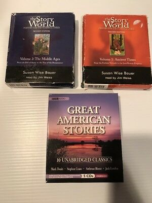 Audio Book Lot Story Of World Vol. 1-2 Ancient Times Middle Ages +Great American