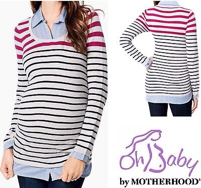 New MOTHERHOOD MATERNITY Mock-Layer Sweater Shirt M 8-10 L 12-14 Striped Top $56