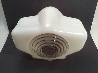 Vintage Art Deco White Bathroom Sconce Wall Light Fixture Milk Glass Look Shade