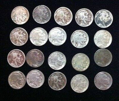 20 CT Lot of Buffalo Nickels ~ Stained and Damaged~  Old Collectibles Bulk price