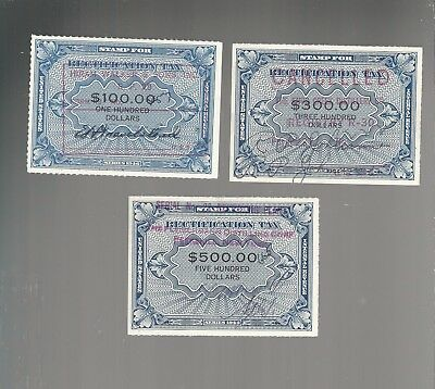 Us Revenue Stamps  Rectification 1946  Lot Of 3   Rz13  Rz14  Rz15