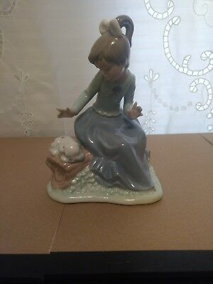 """Lladro Nao porcelain figurine girl sitting with resting dog. """"Let's Rest"""""""