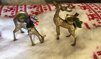 Vtg MCM Pair of Brass Deer Candle Holders Boho Fab Buck Doe Christmas Set of 2