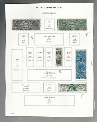 Us Revenue Stamps  Private Proprietary Medicine  Lot Of 25