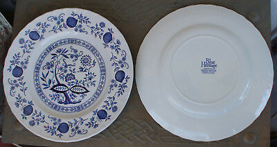 """Two Blue Heritage ENGLAND Blue Onion 10"""" Dinner Plates"""