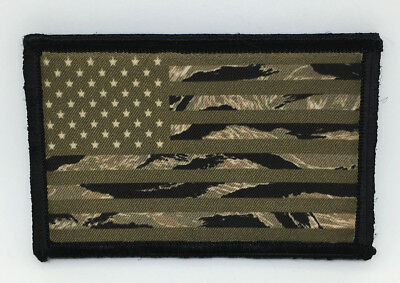 OD Tiger Stripe Camo USA Flag Morale Patch Tactical ARMY Hook Military Subdued