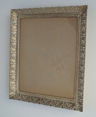 Vintage Hollywood Regency Antique Gold and White Metal Filigree 8 x 10 Frame