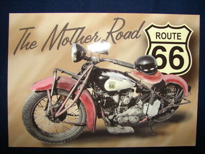 The Mother Road Historic Route 66 Indian Motorcycle helmet Postcard
