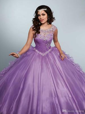 New Purple Quinceanera Pageant Ball Gown Wedding dress Formal Prom Party dresses