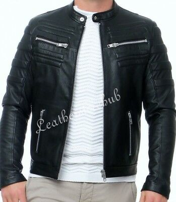 New Mens Vintage Black Genuine Leather Jacket Slim Fit Retro Real Biker  Xs-3Xl