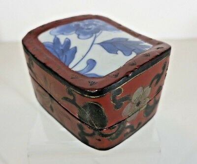 Vintage Chinese Lacquered hand-painted WOOD BOX, Inlaid Porcelain on Top