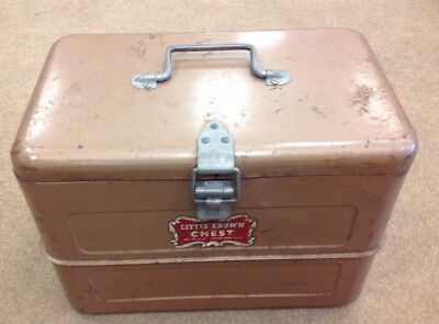 """VINTAGE Camping Cooler ICE CHEST """"LITTLE BROWN CHEST""""  MACOMB,IL"""
