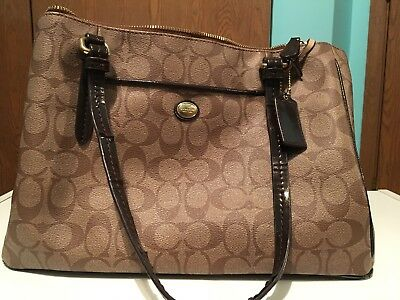 COACH Authentic PEYTON Signature Double Zip Carryall F24603 Tan/Brown Used