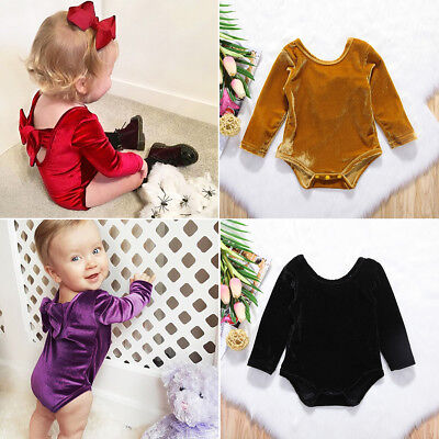Toddler Baby Girl Bowknot Backless Romper Bodysuit Jumpsuit Clothes Outfits 0-2T