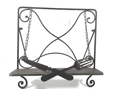Iron Cookbook Stand Decorative Countertop Book Holder Easel