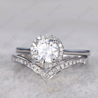 1.25 Ct Round Cut Diamond Engagement Ring Curved Wedding Band Set 14K White Gold