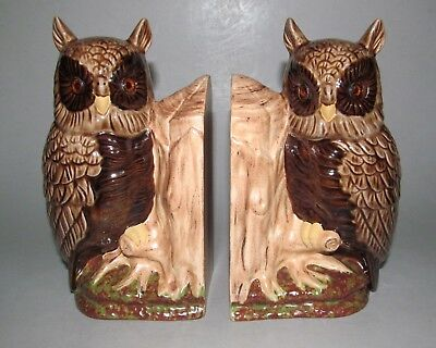"""Owl on Stump Bookends Set of 2 Ceramic Hand Painted Lucite Eyes 7"""" Pair Vintage"""