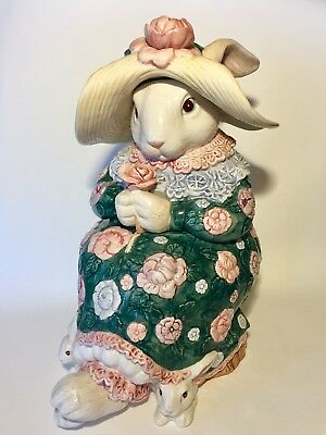 1991 FITZ & FLOYD 'Bloomers' Mother Rabbit and Bunnies Cookie Jar EUC Retired