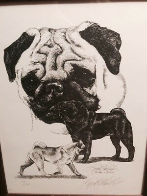 Bull Dog Pug Artwork Lyn St. Clair Stubbs 1986 Signed Numbered Framed Cairn