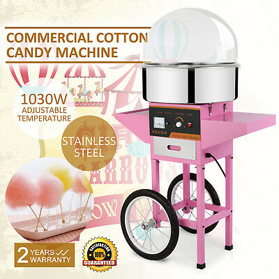 Commercial Cotton Candy Maker Fairy Floss Machine With  Wheeled Cart & Dome