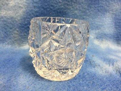 """Crystal Star Cut Clear Glass Toothpick Holder Excellent Condition 2 1/2"""" Tall"""