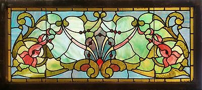 Antique American Stained and Jeweled Transom