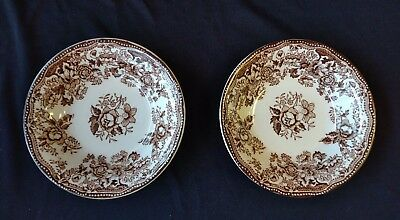 """2 TONQUIN Brown ROYAL STAFFORDSHIRE Clarice Cliff 5"""" Fruit Dessert Berry BOWLS"""