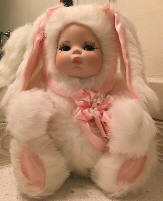 Collector Girl Doll In Bunny Outfit Musical Plush Long Lashes So Cute