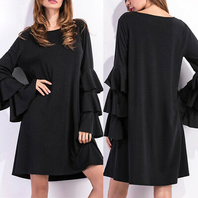 ZANZEA 8-24 Women Bell Sleeve Club Party Evening Cocktail Plus Size Black Dress
