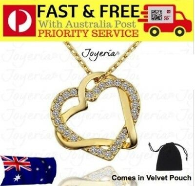 18K Gold Filled Women's Love Heart Pendant Necklace With Swarovski Crystal