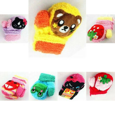 Waterproof Gloves For Pattern Knitted Thick Warm Infants Babies Winter Cartoon