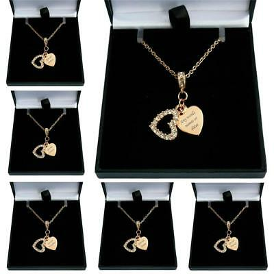 Rose Gold Necklace with Engraving, Personalised Heart Pendant, Gift Boxed