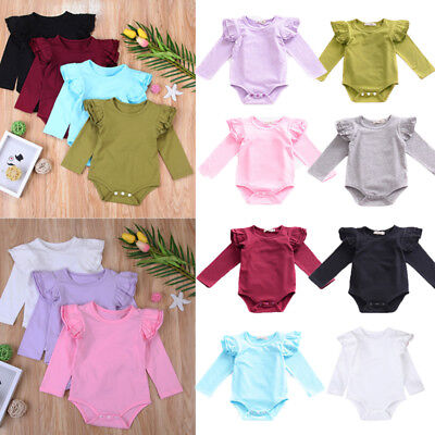 Infant Toddler Baby Girls Boy Long Romper Bodysuit Casual Outfits Jumpsuit 0-2T