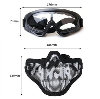Outdoor Airsoft Black Mesh Mask and Goggles Full Face Protection Glasses