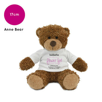 Personalised Name Flower Girl Anne Teddy Bear Wedding Favour Thank You Gift