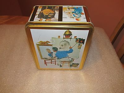 "Norman Rockwell ""The Triple Self-Portrait"" Tin Hinged Trinket Box 1994"