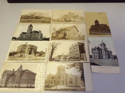 Lot (10) Antique Vintage Post Cards - Kansas - 1907 - 1910 Masonic Temple Church