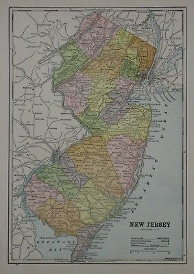 Original 1896 Color Lithographed Map NEW JERSEY Canals Railroads Cities Counties