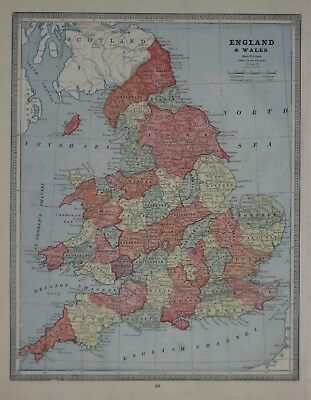 Map Of England And Wales With Towns.Original 1883 Shire Map England Wales Railroads Cities Towns York