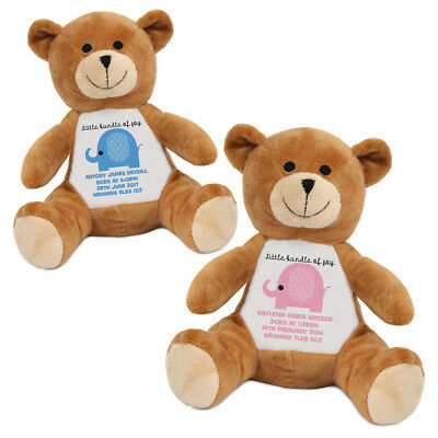 "Personalised Name 10"" New Baby Birth Newborn Child Bear Soft Toy Gift Present"