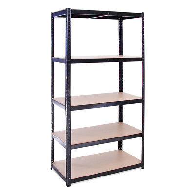 5 Tier Black Metal Shelving Racking Storage Unit 180 x 90 x 45cm - Garage Shop