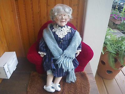 "15"" Porcelain/Stuffed Granny Doll with Armchair, Rug, Shawl, Eye-Glasses"