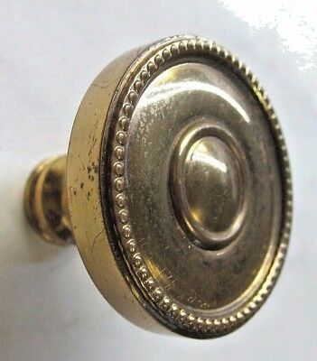 Vintage retro dresser drawer door pull knob heavy solid brass beaded rim 1-5/8""
